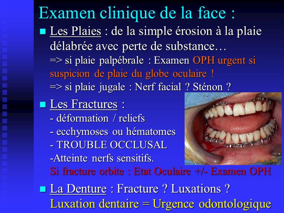 Examen clinique de la face : Les Plaies : de la simple érosion à la plaie délabrée avec perte de substance… => si plaie palpébrale : Examen OPH urgent