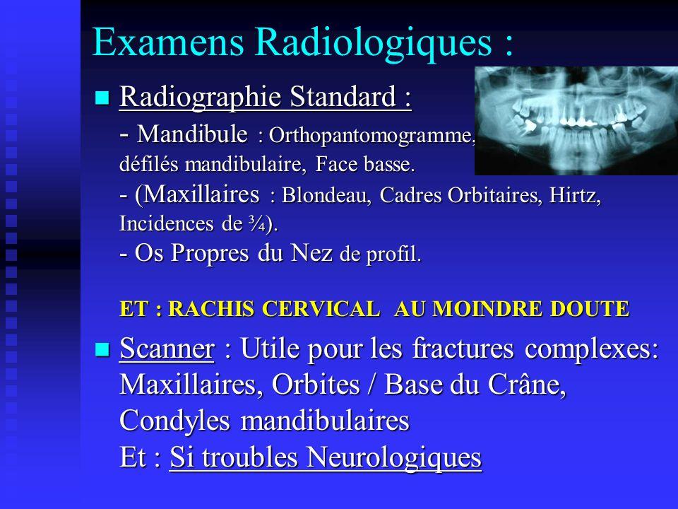 Examens Radiologiques : Radiographie Standard : - Mandibule : Orthopantomogramme, défilés mandibulaire, Face basse. - (Maxillaires : Blondeau, Cadres