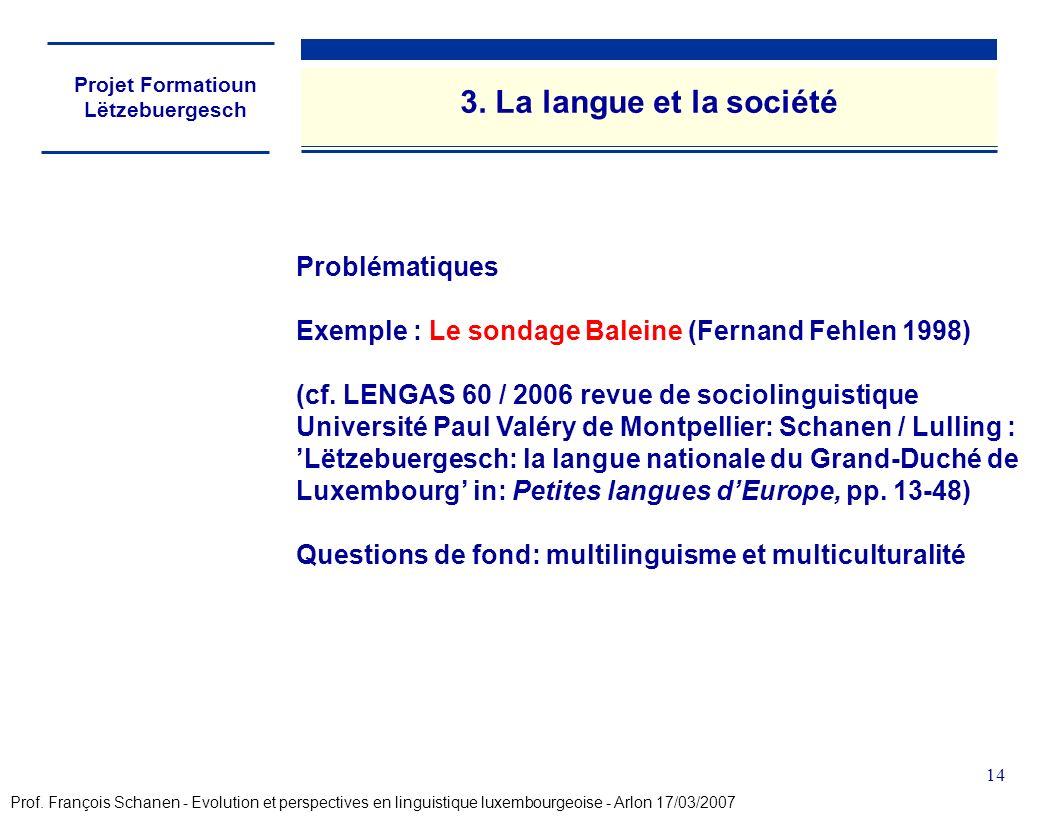 Projet Formatioun Lëtzebuergesch 14 Problématiques Exemple : Le sondage Baleine (Fernand Fehlen 1998) (cf. LENGAS 60 / 2006 revue de sociolinguistique