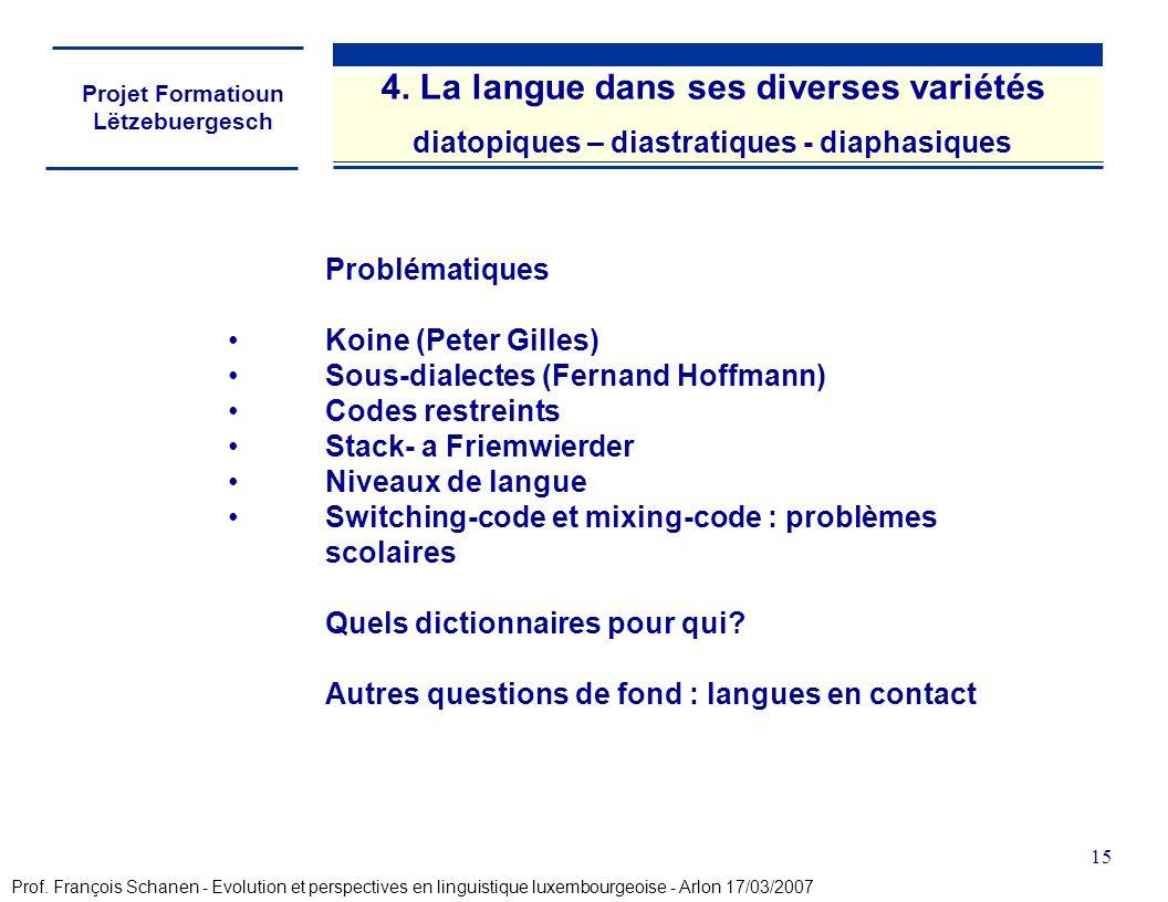 Projet Formatioun Lëtzebuergesch 15 Problématiques Koine (Peter Gilles) Sous-dialectes (Fernand Hoffmann) Codes restreints Stack- a Friemwierder Nivea