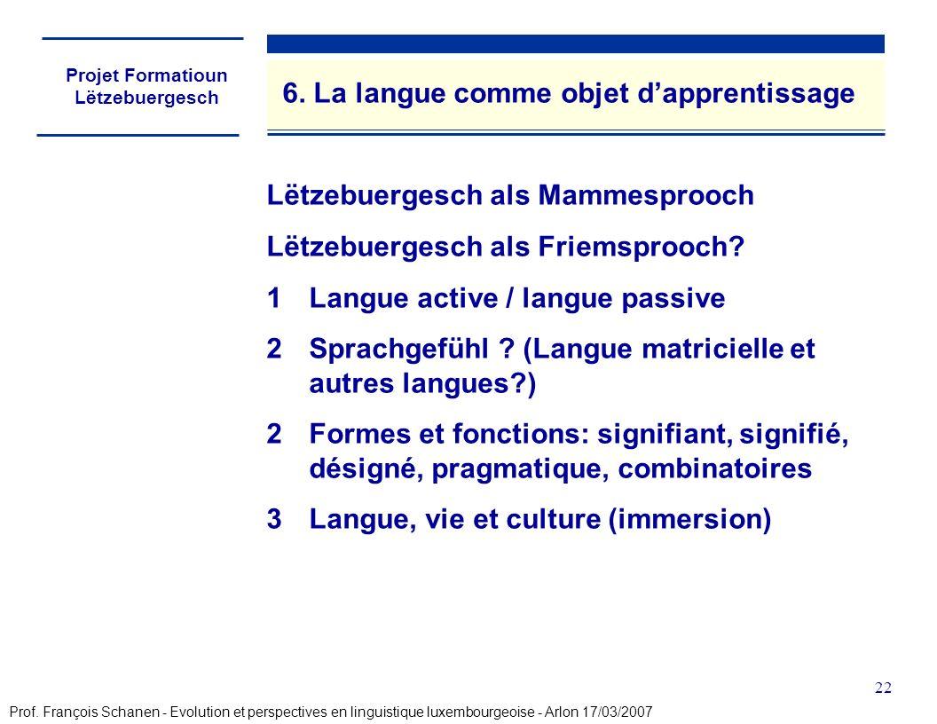 Projet Formatioun Lëtzebuergesch 22 6. La langue comme objet dapprentissage Lëtzebuergesch als Mammesprooch Lëtzebuergesch als Friemsprooch? 1Langue a