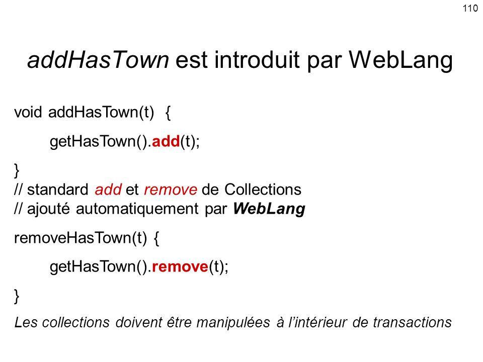 110 addHasTown est introduit par WebLang void addHasTown(t) { getHasTown().add(t); } // standard add et remove de Collections // ajouté automatiquement par WebLang removeHasTown(t) { getHasTown().remove(t); } Les collections doivent être manipulées à lintérieur de transactions