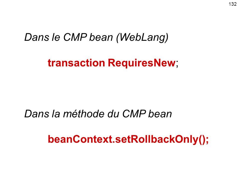 132 Dans le CMP bean (WebLang) transaction RequiresNew; Dans la méthode du CMP bean beanContext.setRollbackOnly();