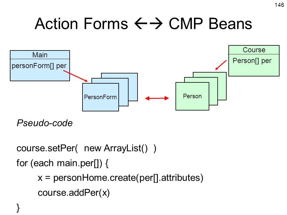 146 Action Forms CMP Beans PersonForm Main personForm[] per Person Course Person[] per Pseudo-code course.setPer( new ArrayList() ) for (each main.per[]) { x = personHome.create(per[].attributes) course.addPer(x) } PersonFormPerson