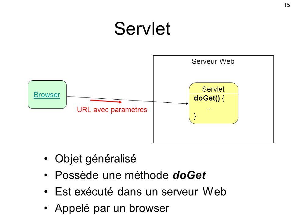 15 Servlet Objet généralisé Possède une méthode doGet Est exécuté dans un serveur Web Appelé par un browser Browser Servlet doGet() { … } Serveur Web URL avec paramètres