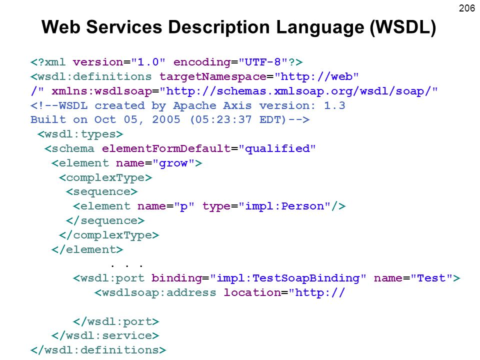 206 Web Services Description Language (WSDL) <wsdl:definitions targetNamespace= http://web / xmlns:wsdlsoap= http://schemas.xmlsoap.org/wsdl/soap/ <!--WSDL created by Apache Axis version: 1.3 Built on Oct 05, 2005 (05:23:37 EDT)--> <schema elementFormDefault= qualified ...
