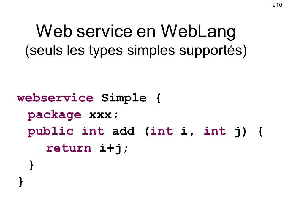 210 Web service en WebLang (seuls les types simples supportés) webservice Simple { package xxx; public int add (int i, int j) { return i+j; }