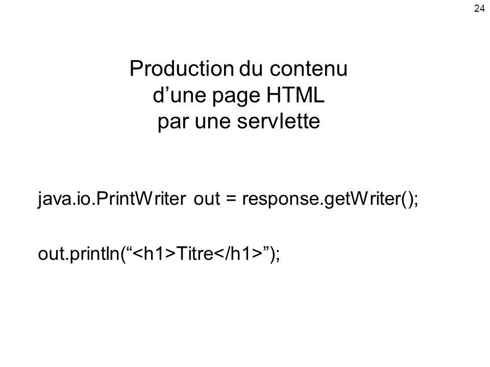 24 Production du contenu dune page HTML par une servlette java.io.PrintWriter out = response.getWriter(); out.println( Titre );