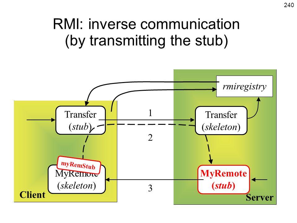 240 RMI: inverse communication (by transmitting the stub) Client Server MyRemote (skeleton) MyRemote (stub) rmiregistry Transfer (stub) 1 2 3 Transfer (skeleton) myRemStub