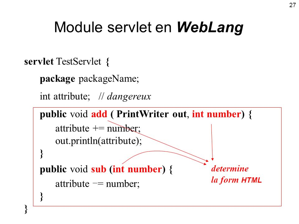 27 Module servlet en WebLang servlet TestServlet { package packageName; int attribute; // dangereux public void add ( PrintWriter out, int number) { attribute += number; out.println(attribute); } public void sub (int number) { attribute = number; } determine la form HTML