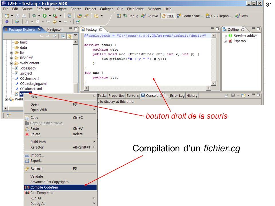 31 bouton droit de la souris Compilation dun fichier.cg