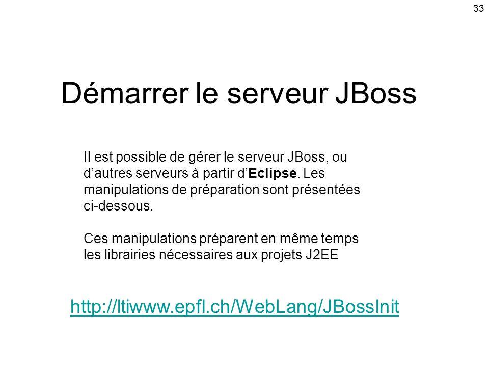 33 Démarrer le serveur JBoss http://ltiwww.epfl.ch/WebLang/JBossInit Il est possible de gérer le serveur JBoss, ou dautres serveurs à partir dEclipse.