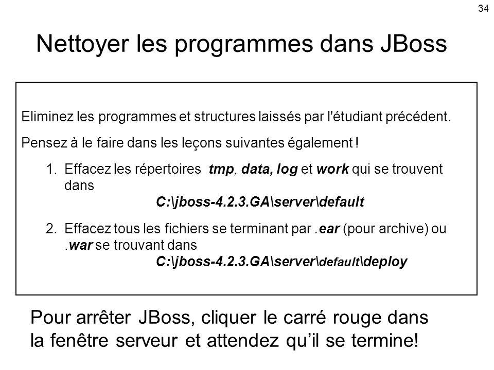 34 Nettoyer les programmes dans JBoss Eliminez les programmes et structures laissés par l étudiant précédent.
