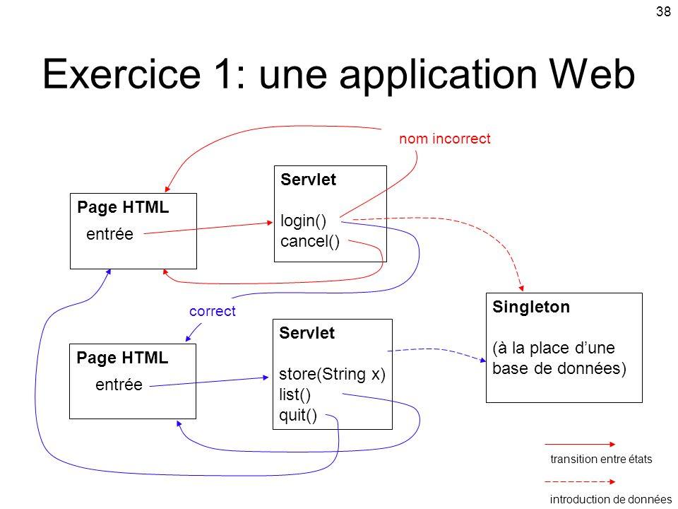 38 Exercice 1: une application Web Singleton (à la place dune base de données) Servlet store(String x) list() quit() Page HTML entrée Servlet login() cancel() correct nom incorrect Page HTML entrée transition entre états introduction de données