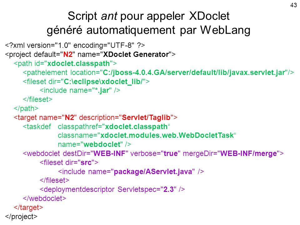 43 Script ant pour appeler XDoclet généré automatiquement par WebLang <taskdefclasspathref= xdoclet.classpath classname= xdoclet.modules.web.WebDocletTask name= webdoclet />