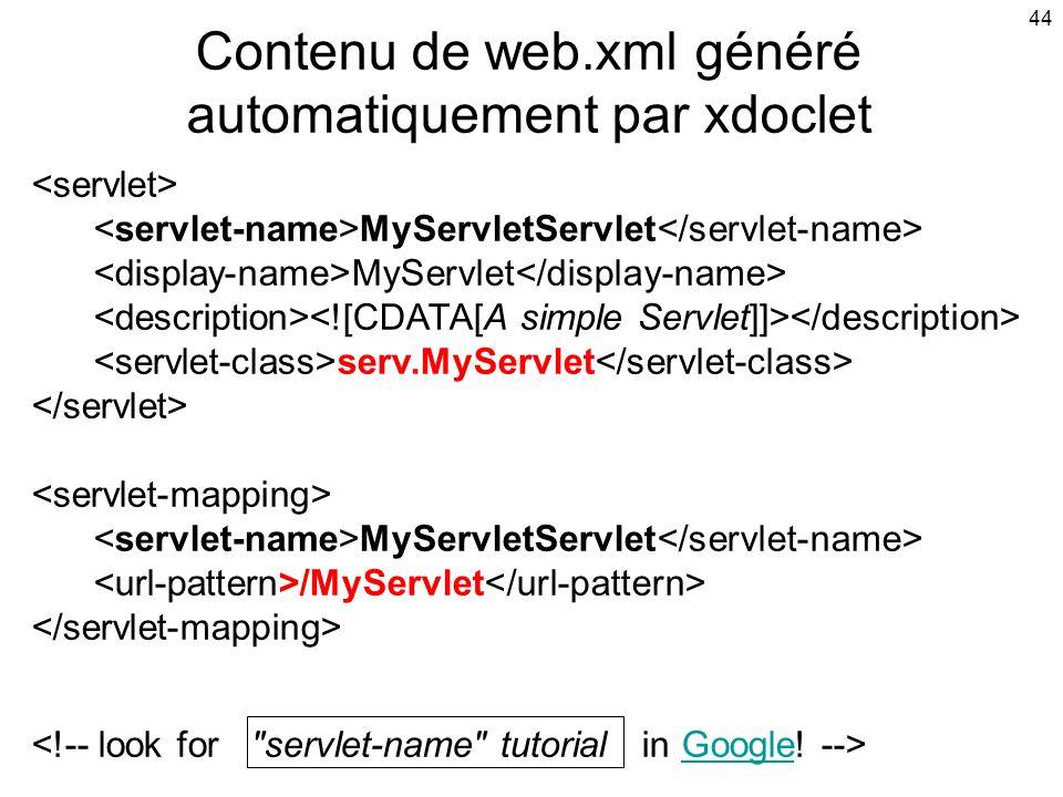 44 MyServletServlet MyServlet serv.MyServlet MyServletServlet /MyServlet Google Contenu de web.xml généré automatiquement par xdoclet