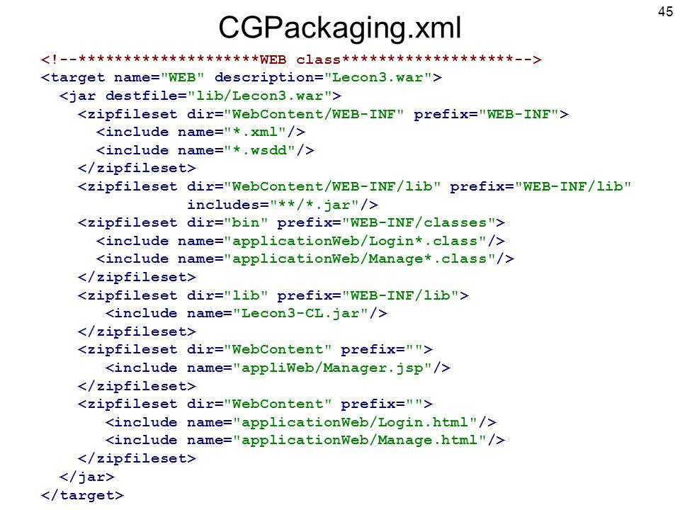 45 CGPackaging.xml <zipfileset dir= WebContent/WEB-INF/lib prefix= WEB-INF/lib includes= **/*.jar />
