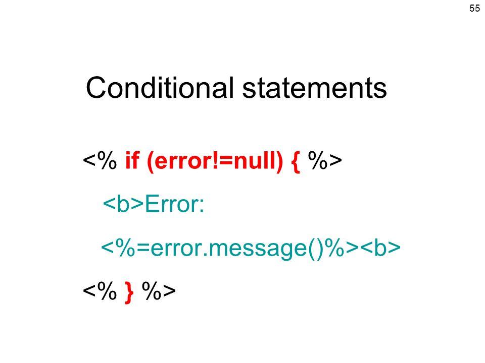 55 Conditional statements Error: