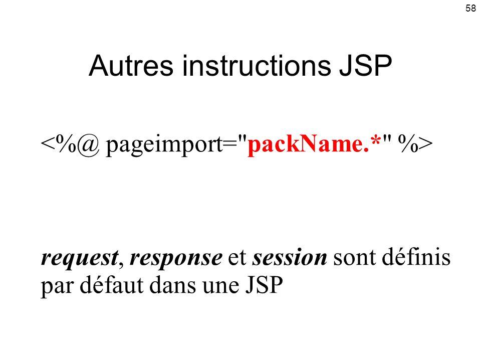 58 request, response et session sont définis par défaut dans une JSP Autres instructions JSP