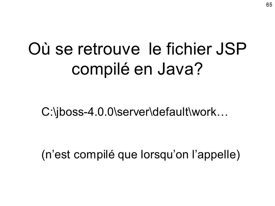 65 Où se retrouve le fichier JSP compilé en Java.