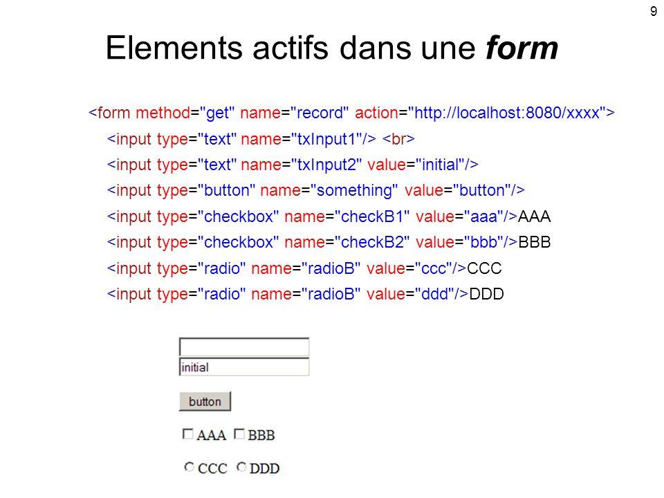 9 Elements actifs dans une form AAA BBB CCC DDD