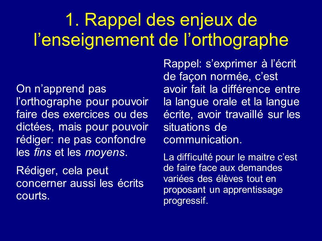 1. Rappel des enjeux de lenseignement de lorthographe On napprend pas lorthographe pour pouvoir faire des exercices ou des dictées, mais pour pouvoir