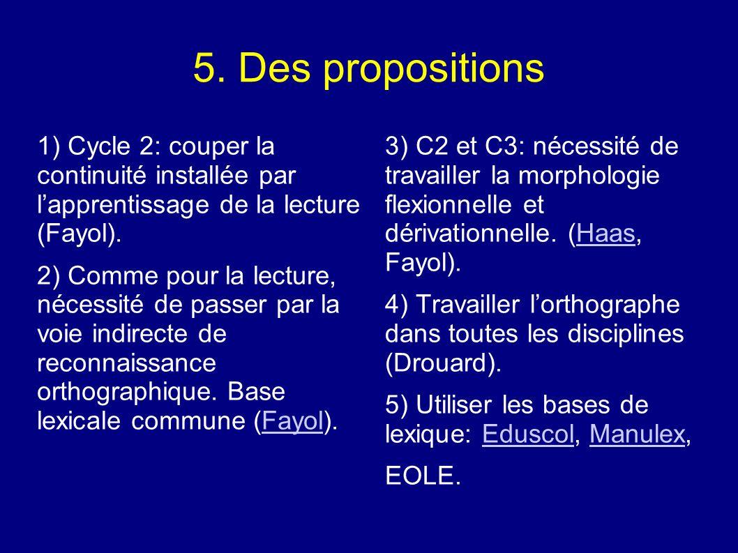 5. Des propositions 1) Cycle 2: couper la continuité installée par lapprentissage de la lecture (Fayol). 2) Comme pour la lecture, nécessité de passer