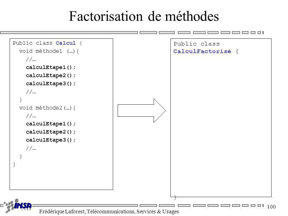 Frédérique Laforest, Télécommunications, Services & Usages 100 Factorisation de méthodes Public class Calcul { void méthode1 (…){ //… calculEtape1();