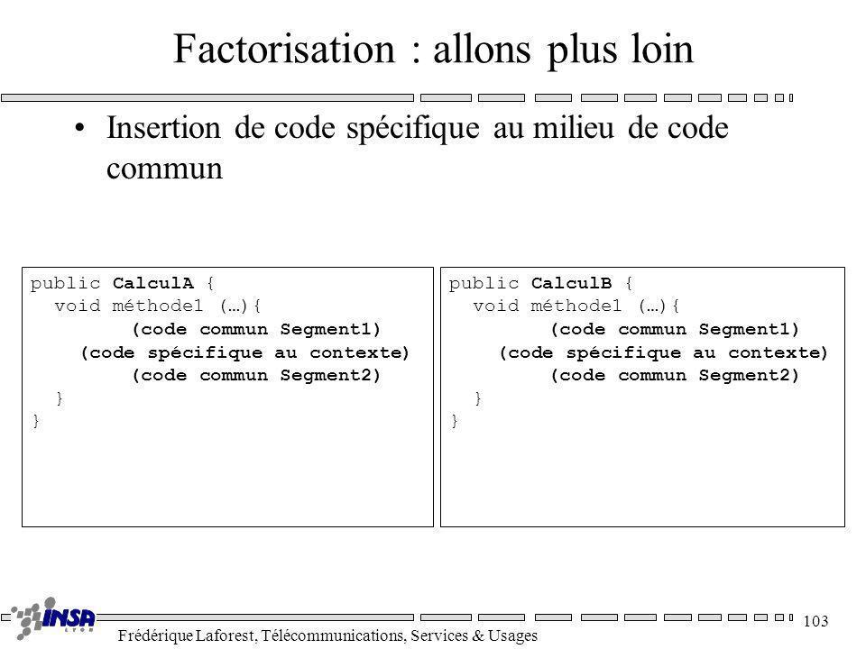 Frédérique Laforest, Télécommunications, Services & Usages 103 public CalculA { void méthode1 (…){ (code commun Segment1) (code spécifique au contexte