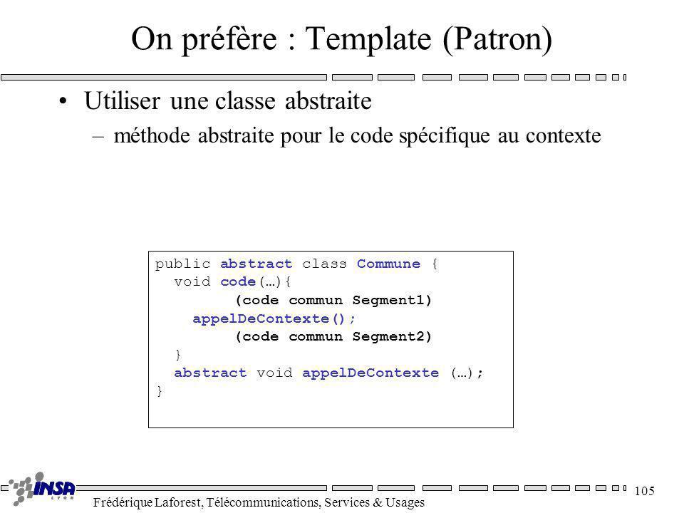 Frédérique Laforest, Télécommunications, Services & Usages 105 public abstract class Commune { void code(…){ (code commun Segment1) appelDeContexte();