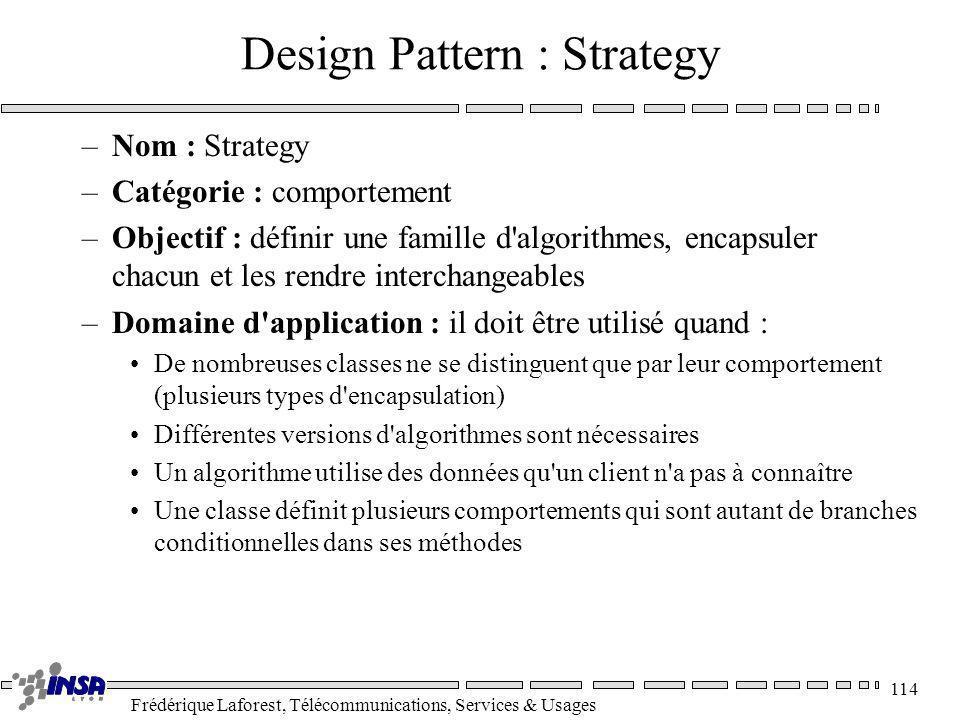 Frédérique Laforest, Télécommunications, Services & Usages 114 Design Pattern : Strategy –Nom : Strategy –Catégorie : comportement –Objectif : définir