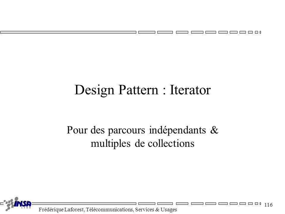 Frédérique Laforest, Télécommunications, Services & Usages 116 Design Pattern : Iterator Pour des parcours indépendants & multiples de collections