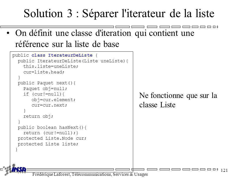 Frédérique Laforest, Télécommunications, Services & Usages 121 Solution 3 : Séparer l'iterateur de la liste On définit une classe d'iteration qui cont
