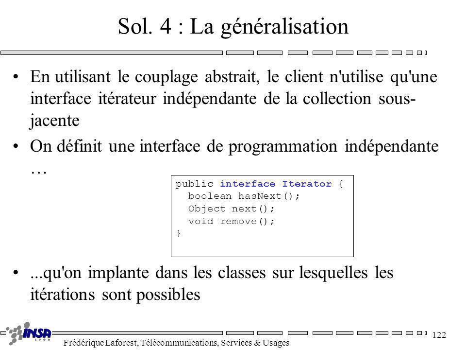 Frédérique Laforest, Télécommunications, Services & Usages 122 Sol. 4 : La généralisation En utilisant le couplage abstrait, le client n'utilise qu'un
