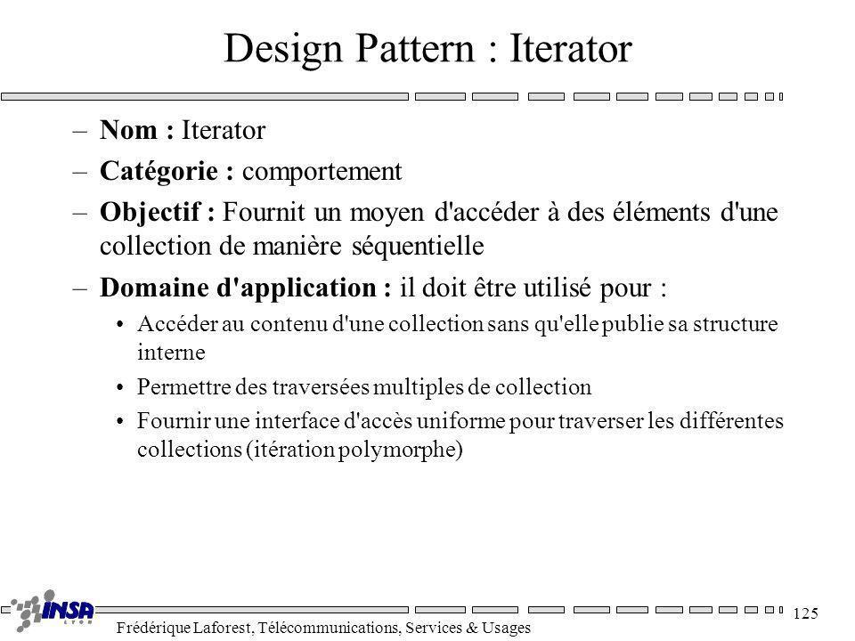 Frédérique Laforest, Télécommunications, Services & Usages 125 Design Pattern : Iterator –Nom : Iterator –Catégorie : comportement –Objectif : Fournit