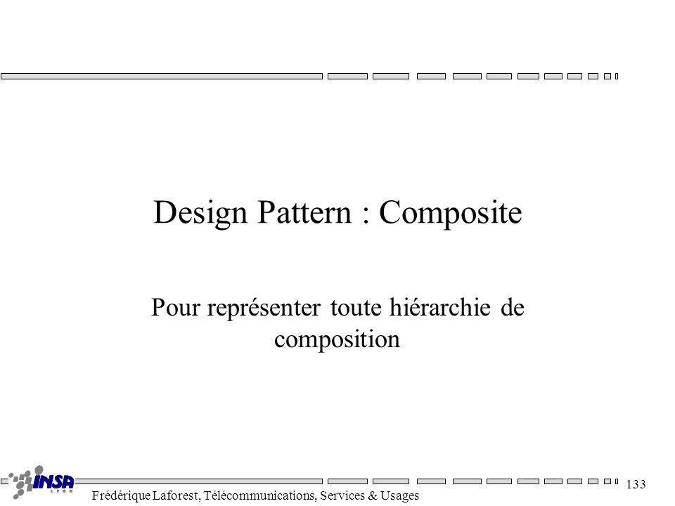 Frédérique Laforest, Télécommunications, Services & Usages 133 Design Pattern : Composite Pour représenter toute hiérarchie de composition
