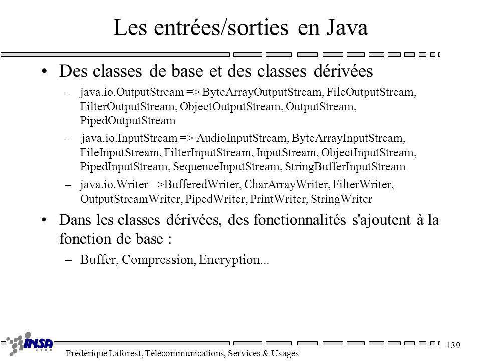 Frédérique Laforest, Télécommunications, Services & Usages 139 Les entrées/sorties en Java Des classes de base et des classes dérivées –java.io.Output