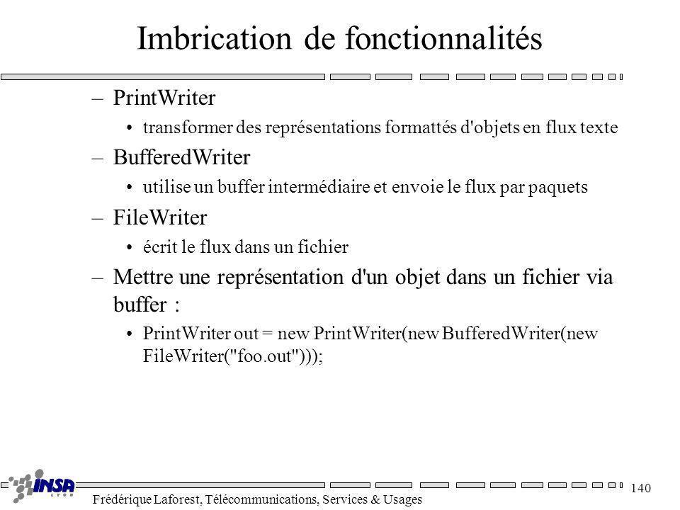 Frédérique Laforest, Télécommunications, Services & Usages 140 Imbrication de fonctionnalités –PrintWriter transformer des représentations formattés d