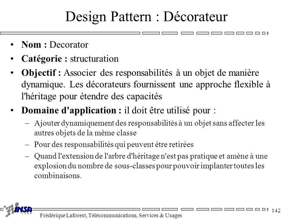 Frédérique Laforest, Télécommunications, Services & Usages 142 Design Pattern : Décorateur Nom : Decorator Catégorie : structuration Objectif : Associ