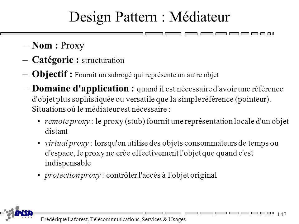 Frédérique Laforest, Télécommunications, Services & Usages 147 Design Pattern : Médiateur –Nom : Proxy –Catégorie : structuration –Objectif : Fournit