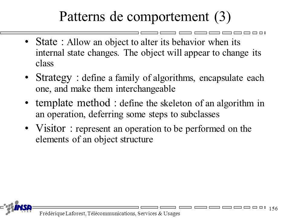 Frédérique Laforest, Télécommunications, Services & Usages 156 Patterns de comportement (3) State : Allow an object to alter its behavior when its int