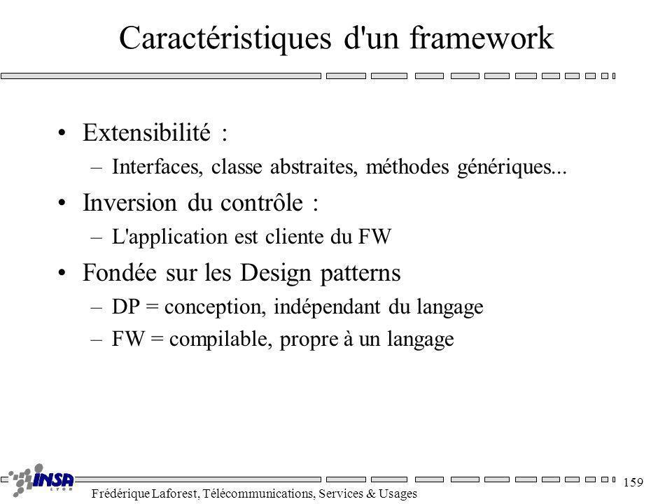 Frédérique Laforest, Télécommunications, Services & Usages 159 Caractéristiques d'un framework Extensibilité : –Interfaces, classe abstraites, méthode