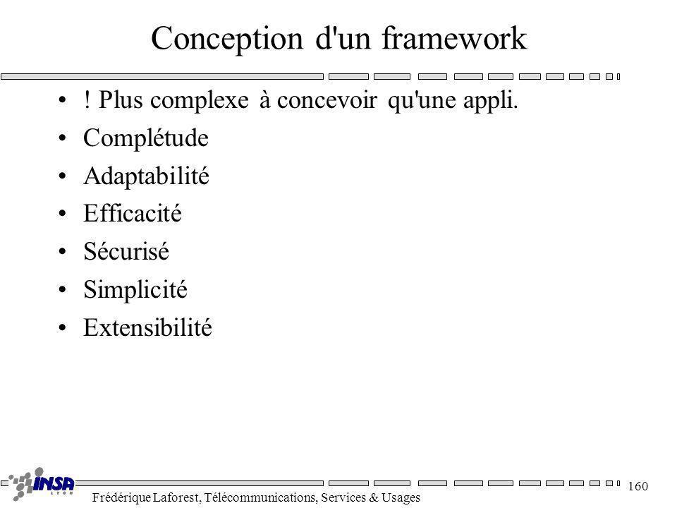 Frédérique Laforest, Télécommunications, Services & Usages 160 Conception d'un framework ! Plus complexe à concevoir qu'une appli. Complétude Adaptabi
