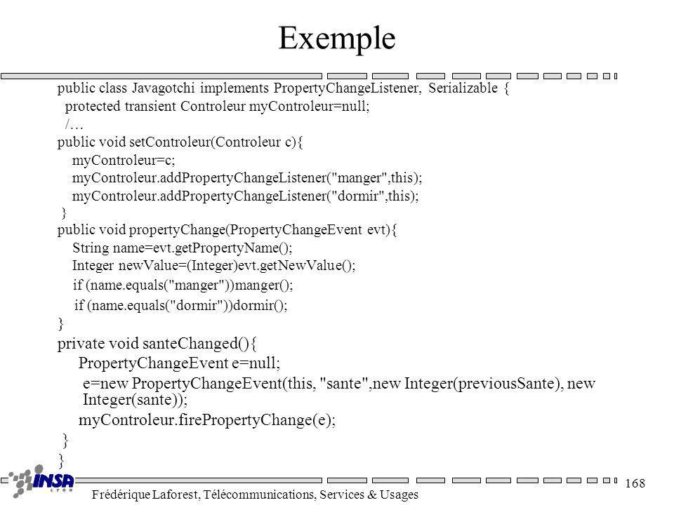 Frédérique Laforest, Télécommunications, Services & Usages 168 Exemple public class Javagotchi implements PropertyChangeListener, Serializable { prote