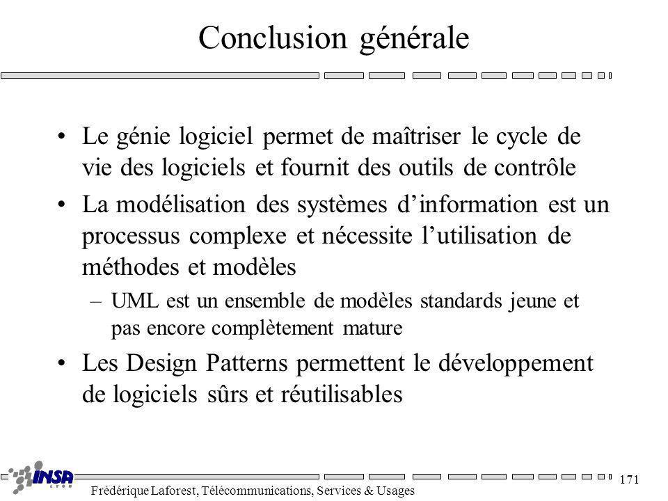 Frédérique Laforest, Télécommunications, Services & Usages 171 Conclusion générale Le génie logiciel permet de maîtriser le cycle de vie des logiciels