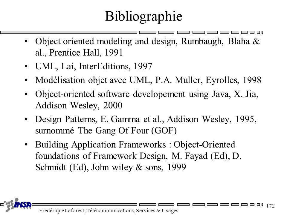 Frédérique Laforest, Télécommunications, Services & Usages 172 Bibliographie Object oriented modeling and design, Rumbaugh, Blaha & al., Prentice Hall