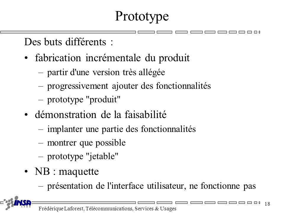 Frédérique Laforest, Télécommunications, Services & Usages 18 Prototype Des buts différents : fabrication incrémentale du produit –partir d'une versio