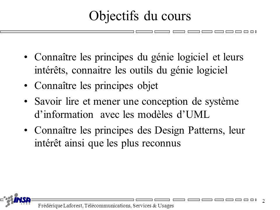 Frédérique Laforest, Télécommunications, Services & Usages 2 Objectifs du cours Connaître les principes du génie logiciel et leurs intérêts, connaitre