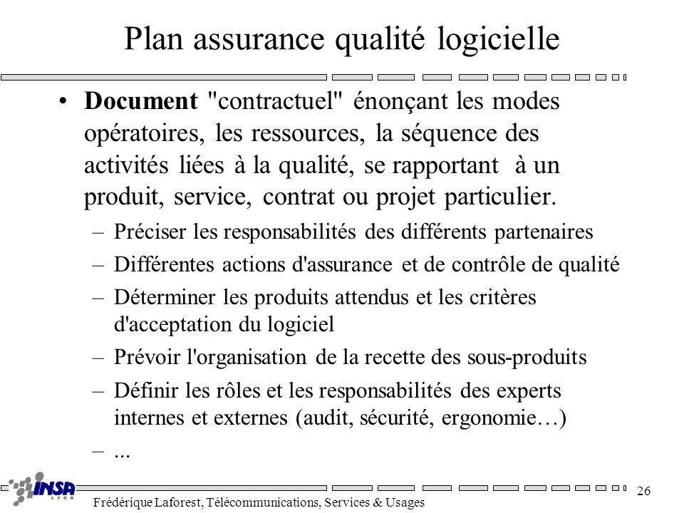Frédérique Laforest, Télécommunications, Services & Usages 26 Plan assurance qualité logicielle Document