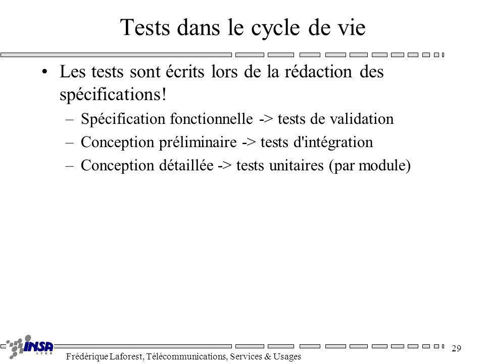 Frédérique Laforest, Télécommunications, Services & Usages 29 Tests dans le cycle de vie Les tests sont écrits lors de la rédaction des spécifications